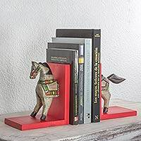 Pinewood bookends, 'Little Horse of Solola' (pair) - Handcrafted Guatemalan Horse Theme Pinewood Bookends (Pair)