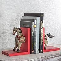 Pinewood bookends, 'Gallop to Knowledge' (pair) - Fair Trade Hand Painted Galloping Horse Bookends with Colorf