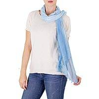 Cotton scarf, 'Clear Sky Moods' - Guatemalan Cotton Gauze Scarf with Natural Indigo Color