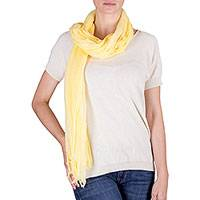 Cotton scarf, 'Sunny Morn' - Natural Turmeric Dye Yellow Cotton Gauze Scarf