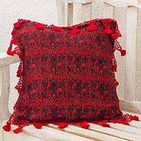 Cotton cushion cover, 'Tactic Crimson' - Red Stars and Diamonds Handwoven Maya Cushion Cover