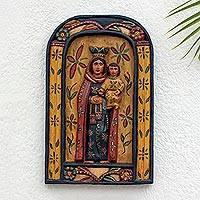 Wood relief wall panel, 'Virgen del Carmen' - Artisan Crafted Wood Wall Panel of the Virgin and Child