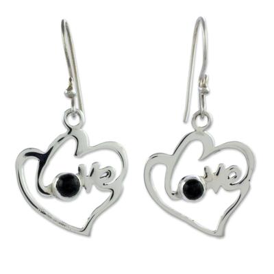Jade dangle earrings, 'Hearts Full of Love' - Romantic Heart Shaped Jade and Silver Love Theme Earrings