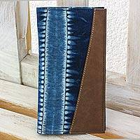 Cotton batik wallet, 'Indigo Chiaroscuro' - Fair Trade Womens Wallet with Natural Indigo Dyes and Faux L
