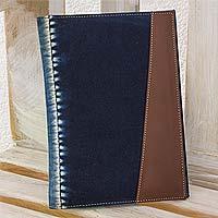 Cotton batik notepad cover, 'Indigo Chiaroscuro' - Cotton Batik Notepad Cover Hand Crafted in Natural Indigo