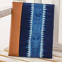 Cotton batik portfolio, 'Indigo Chiaroscuro' - Cotton Batik Portfolio Crafted by Hand in Natural Indigo