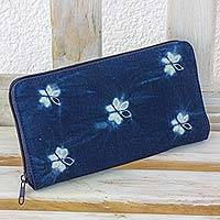 Cotton batik wallet, 'Floral Butterflies' - Batik Flower Butterflies on Natural Indigo Cotton Wallet