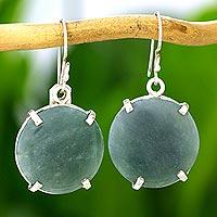 Jade dangle earrings, 'Circular Abstract' - Fair Trade Apple Green Jade and Silver Dangle Earrings