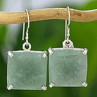 Jade dangle earrings, 'Abstract Square' - Minimalist Silver and Apple Green Jade Artisan Earrings