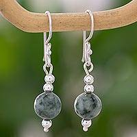 Jade dangle earrings, 'Pale Green Ponds' - Sterling Silver Dangle Earrings with Light Green Maya Jade