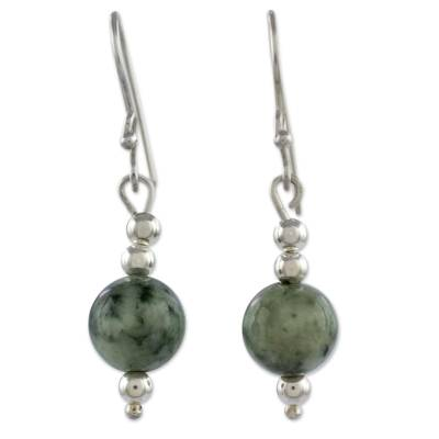 Jade dangle earrings, 'Pale Green Ponds' - Sterling Silver Dangle Earrings with Light Green Maya Jade
