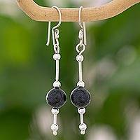 Jade dangle earrings, 'Cool Green Ponds' - Dark Green Maya Jade Sterling Silver Dangle Earrings