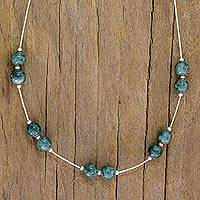 Jade station necklace, 'Pale Green Ponds' - Sterling Silver Necklace with Light Green Maya Jade