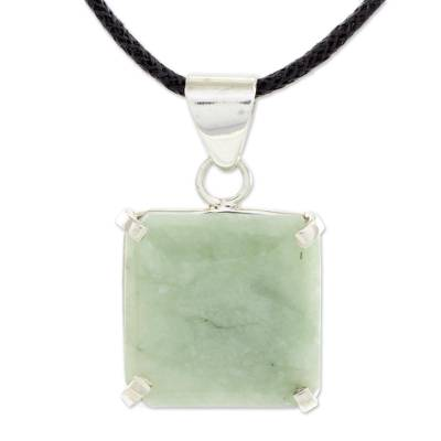Jade pendant necklace, 'Abstract Square' - Handcrafted Silver and Apple Green Maya Jade Necklace