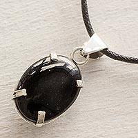 Jade pendant necklace, 'Oval Abstract' - Handcrafted Black Maya Jade and Cotton Necklace with Silver