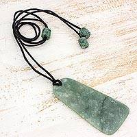 Jade pendant necklace, 'Maya Obelisk' - Womens Jade on Black Cord Pendant Necklace from Guatemala