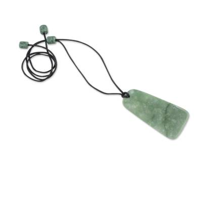 Jade pendant necklace, 'Maya Obelisk' - Womens Jade on Black Cord Pendant Necklace from Guatemala