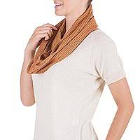 Cotton infinity scarf, 'Mother Earth' - Maya Backstrap Loom Cotton Infinity Scarf in Brown Shades