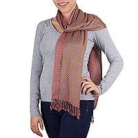 Cotton scarf, 'Water Hyacinth' - Maya Handwoven Guatemalan Cotton Scarf in Rose Tones