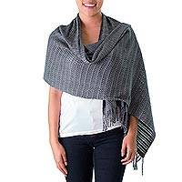 Cotton shawl, 'Misty Mountains' - Backstrap Loom Handwoven Grey Cotton Shawl from Guatemala