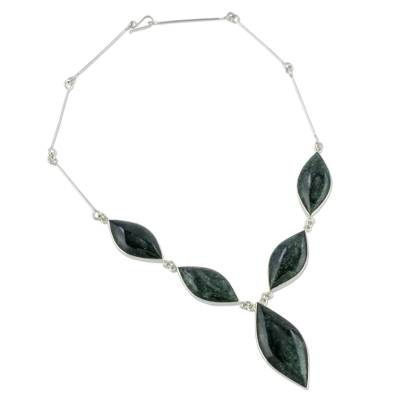 Jade pendant necklace, 'Green Maya Shield' - Womens Jade and Sterling Silver Necklace from Guatemala