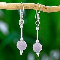 Lilac jade dangle earrings, 'Delicate Maya' - 925 Silver and Lilac Jade Guatemalan Dangle Earrings
