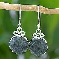 Jade dangle earrings, 'Verdant Facets' - Handcrafted Dangle Earrings of Faceted Guatemalan Jade