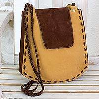 Leather shoulder bag, 'Coffee Grain' - Bohemian Style Brown Leather Structured Shoulder Bag