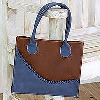 Leather tote bag, 'Wave of Blue' - Artisan Crafted Brown and Blue Leather Tote Bag
