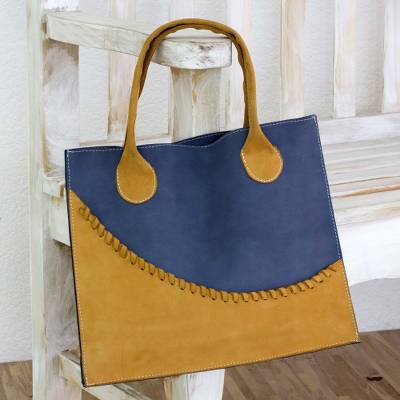 5ec107fc39cb Artisan Crafted Yellow and Blue Leather Open Tote Bag - Wave of ...