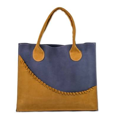 Novica Leather tote bag, Wave of Yellow
