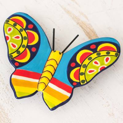 Ceramic figurine, 'Central American Butterfly' - Colorful Handcrafted Ceramic Butterfly from El Salvador
