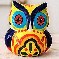 Ceramic figurine, 'Festive Owl - Handcrafted Ceramic Owl Figurine in Festive Colors
