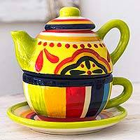 Ceramic tea set, 'Kitchen Sunflower' (3 pieces) - El Salvador Handcrafted Ceramic Tea Set for One
