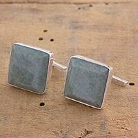 Jade cufflinks, 'Light Green Maya Minimalist'