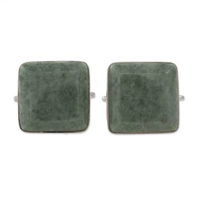 Jade cufflinks, 'Light Green Maya Minimalist' - Guatemala Jade and 925 Silver Cuff Links Men's Accessories
