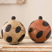 Ceramic boxes, 'Punto' (pair) - Artisan Crafted Round Ceramic Boxes from Honduras (Pair)