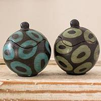 Ceramic boxes, 'Simply Round' (pair) - Artisan Crafted Round Ceramic Boxes from Honduras (Pair)