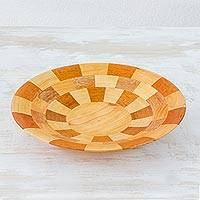 Wood serving bowl, 'Domino' - Hand Crafted Natural Wood Serving Bowl from Guatemala