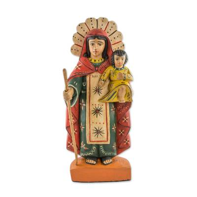 Wood sculpture, 'Virgin Mary Help of Christians' - Hand Carved Wood Statue of the Virgin Mary with Little Jesus