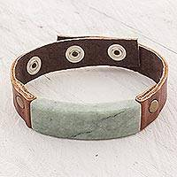 Men's jade and leather wristband bracelet, 'Light Green Maya Fortress'