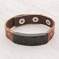 Men's jade and leather wristband bracelet, 'Dark Green Maya Fortress'