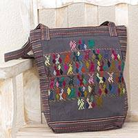 Cotton shoulder bag, 'Multicolor Landscape' - Hand Woven Grey Cotton Shoulder Bag with Maya Animal Symbols