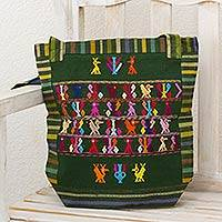 Cotton shoulder bag, 'Jade Landscape' - Maya Animal Symbols on Hand Woven Green Cotton Shoulder Bag