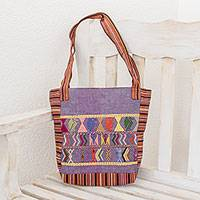 Cotton shoulder bag, 'Maya Prosperity Omen' - Artisan Crafted 100% Cotton Shoulder Bag Purple Multicolor