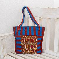 Cotton tote bag, 'Harmony in Community' - Artisan Crafted 100% Cotton Guatemalan Tote Bag