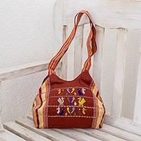 Cotton shouder bag, 'Unconditional Love' - Hand Woven Cotton Shoulder Bag with Mother Bird and Corn
