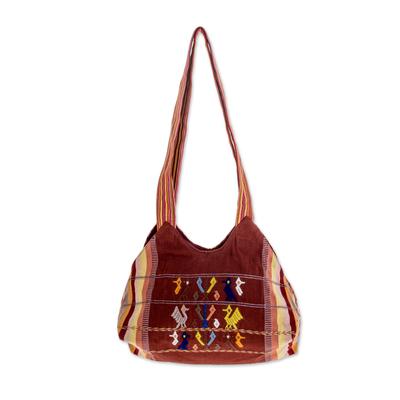 Novica Cotton shoulder bag, Prosperous Land