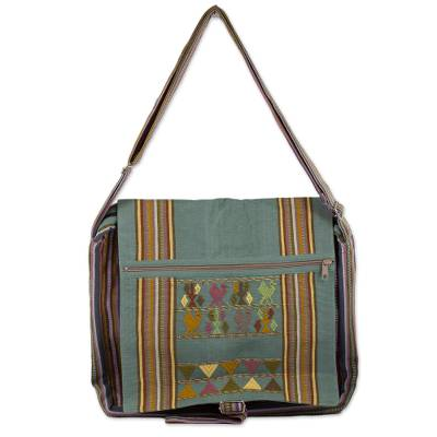Novica Cotton shoulder bag, Jade Landscape