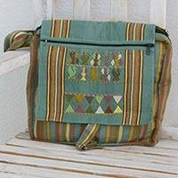 Cotton messenger bag, 'Cotzal Adventure' - Hand Woven 100% Cotton Messenger Bag in Jade Green Pastels